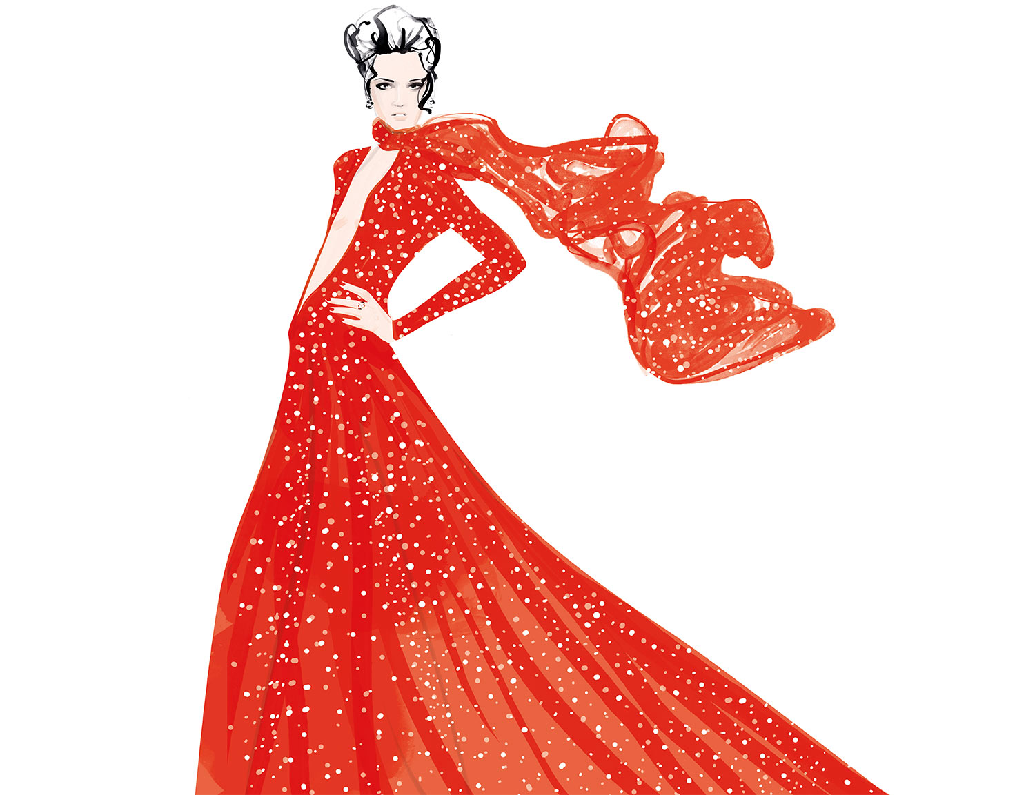 red dress fashion illustration