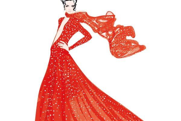 red dress fashion illustration