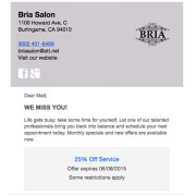 BRIA Salon DemandForce Email Campaign