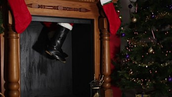 Santa's boots coming down the chimney