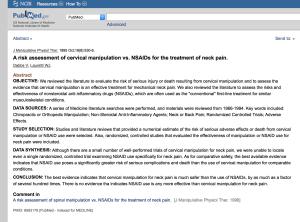 Cervical Manipulation Several Hundred Times Safer Than Aspirin