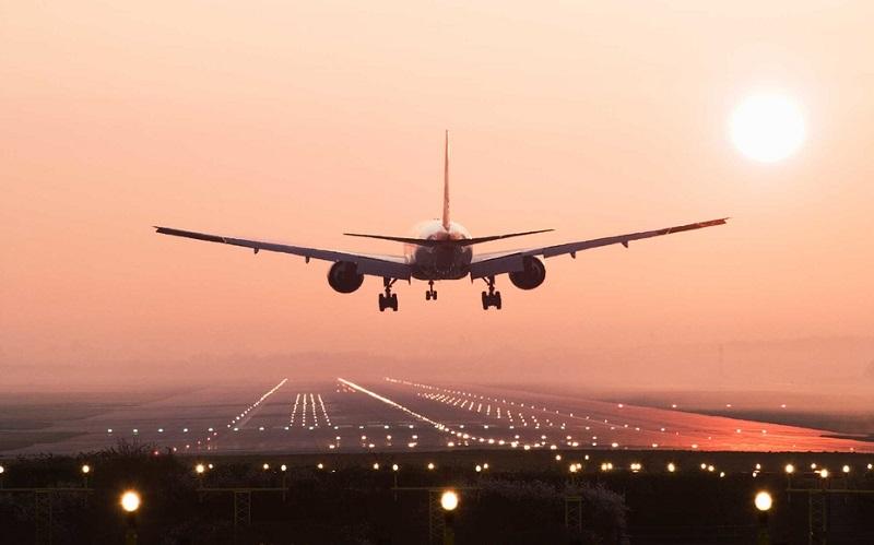 Aircraft landing on runway