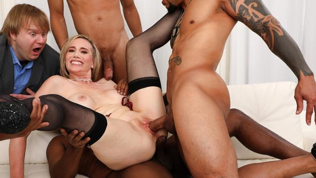 Housewife Lilly James having sex with three black cocks