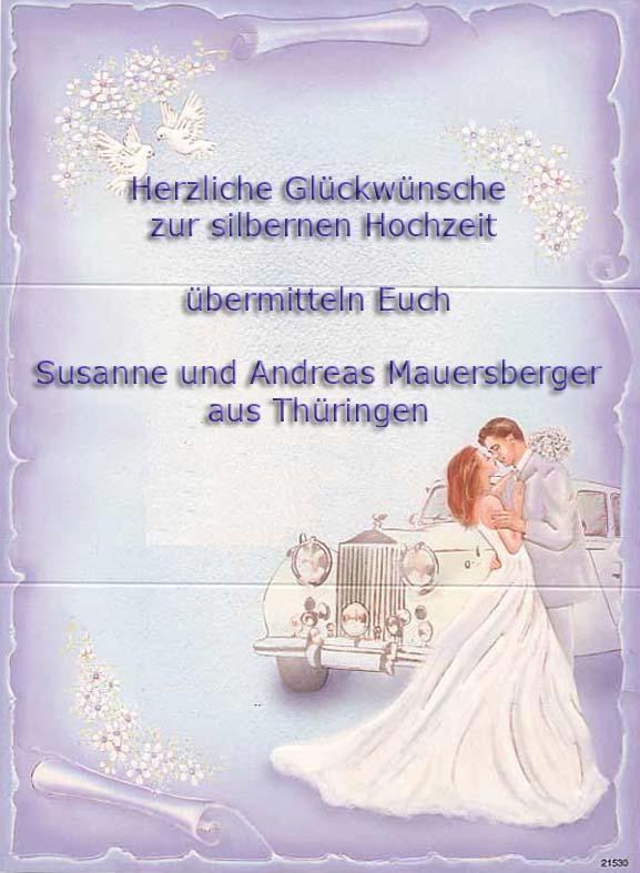 Herzliche Glckwnsche zur Silbernen Hochzeit