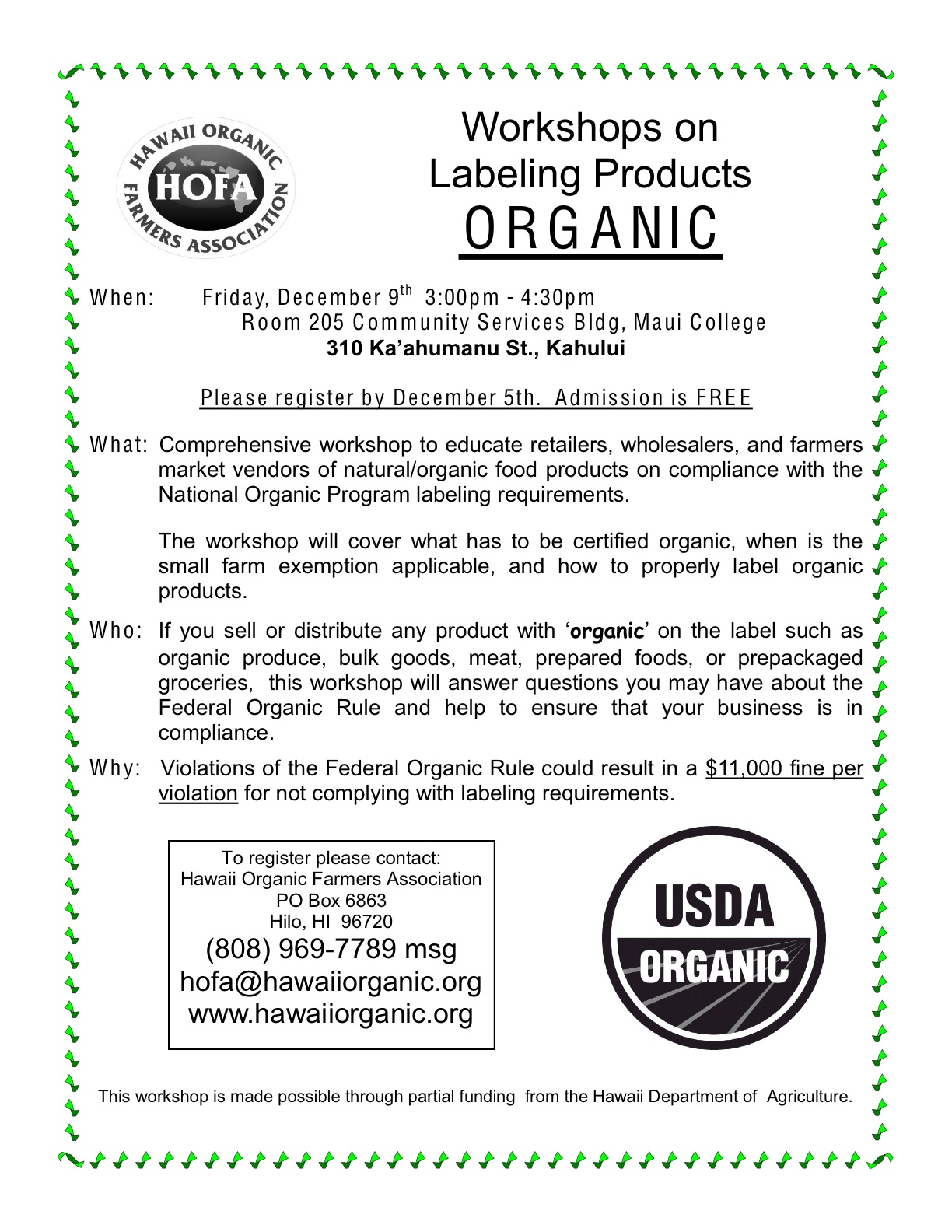 Hofa Workshop On Labeling Products Organic