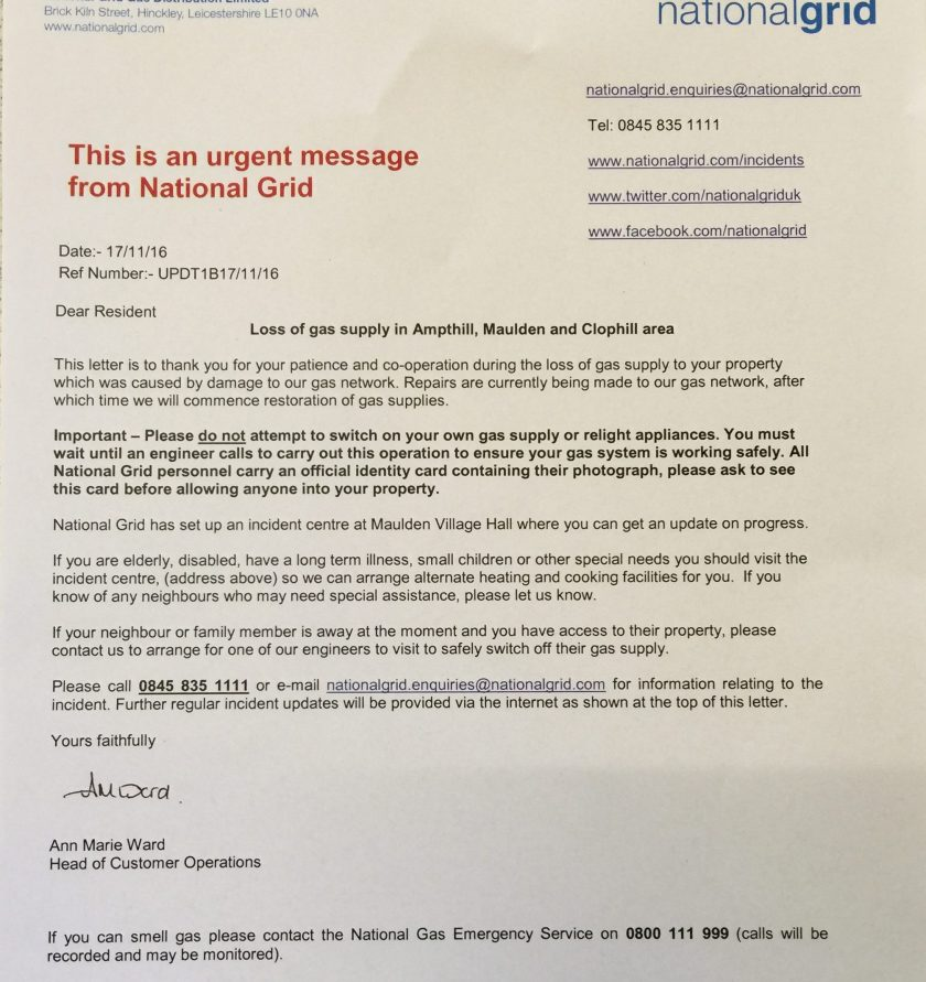 EMERGENCY NOTICE Loss of Gas Supply