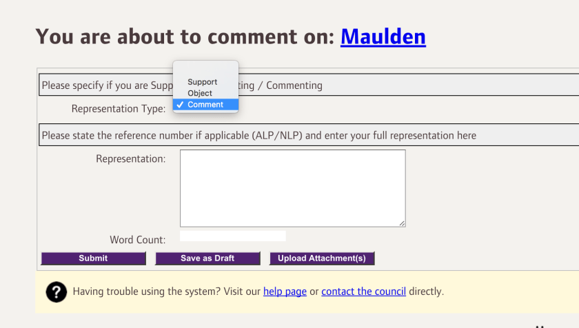 cbc local plan maulden comment editor screenshot