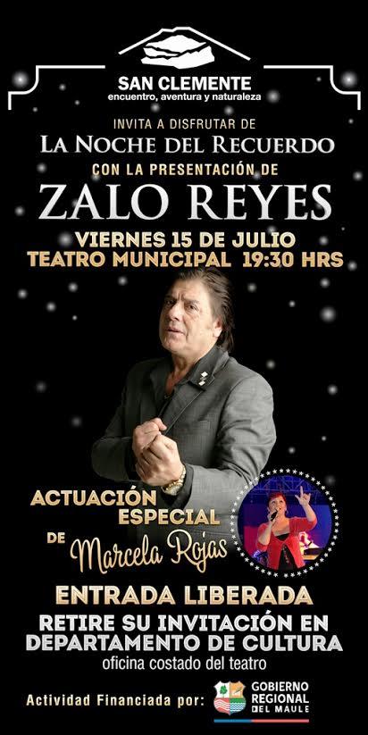 Este viernes 15 de julio se presentará Zalo Reyes en el Teatro Municipal de San Clemente