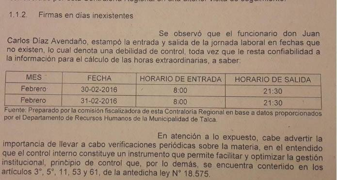 Insólito: Juan Carlos Díaz firmó libro de horas extraordinarias el 30 y 31 de febrero