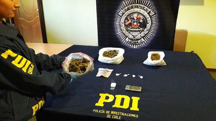 Detectives antinarcóticos de la PDI Curicó detuvieron a dos sujetos por tráfico ilícito de drogas