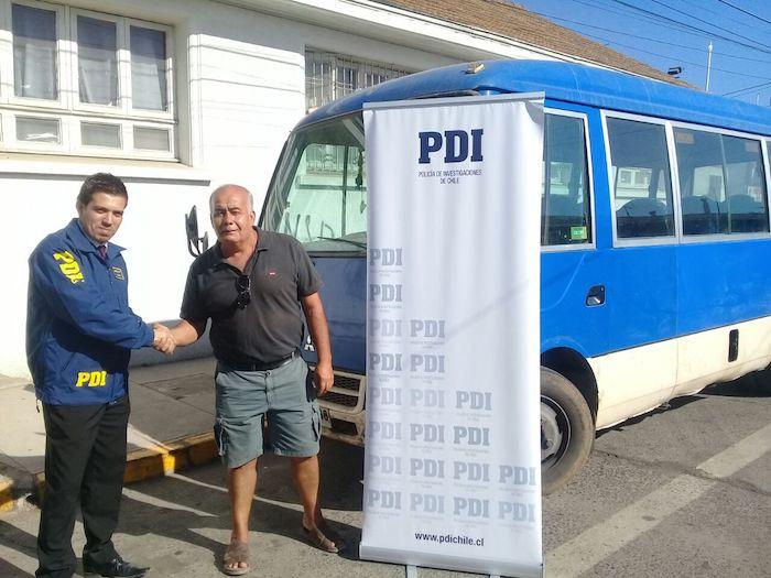 Detectives de la PDI Molina recuperaron bus sustraído