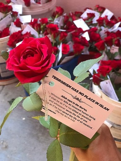 Des roses pour prôner la paix