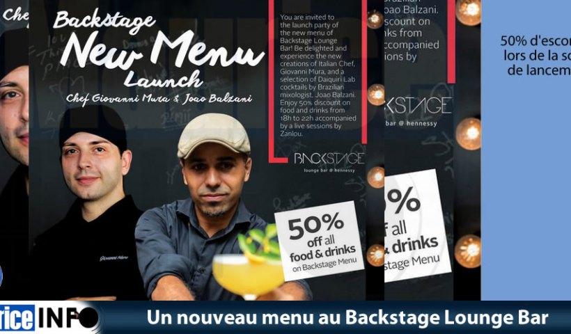 Un nouveau menu au Backstage Lounge Bar