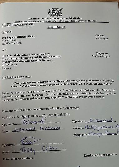 Accord ITCSOU et Ministère Education