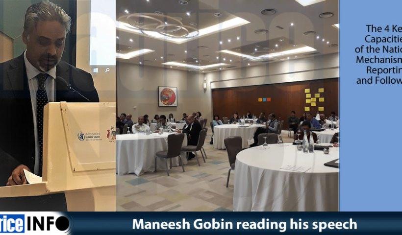 Maneesh Gobin reading his speech