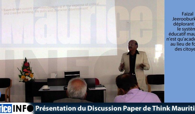 Présentation du Discussion Paper de Think Mauritius