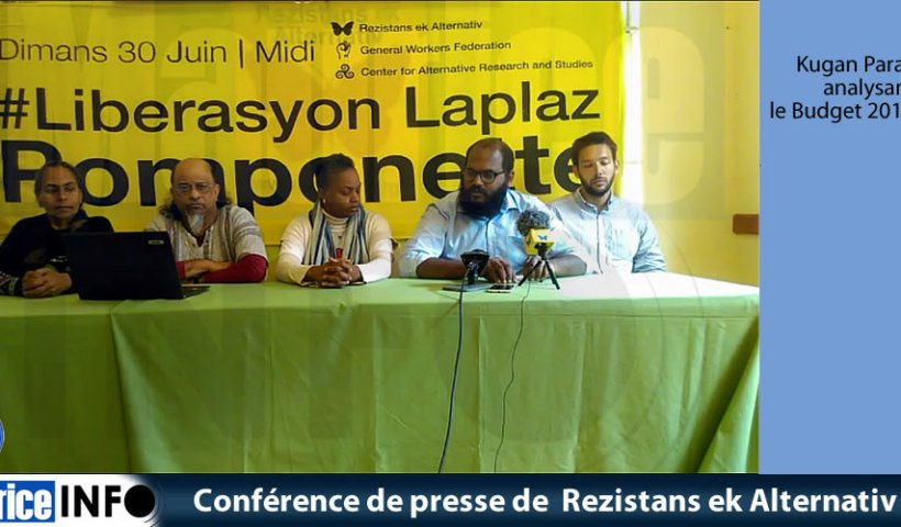 Conférence de presse de Rezistans ek Alternativ du 29 Juin 2019