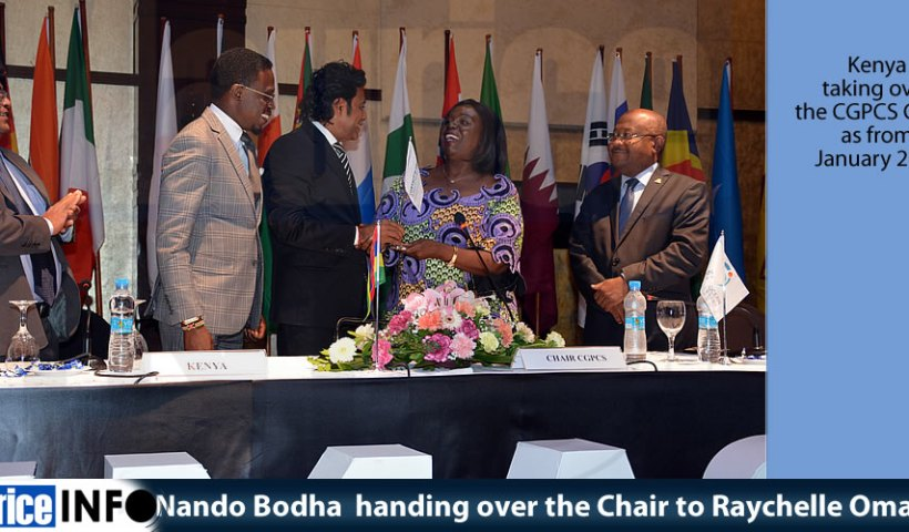 Nando Bodha handing over the Chair to Raychelle Omamo