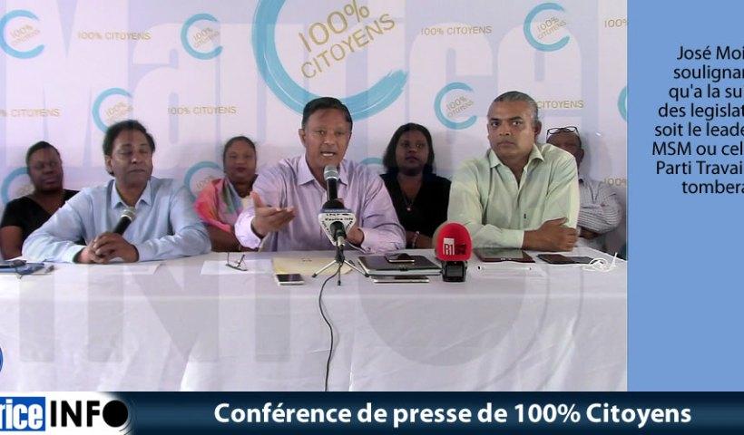 Conférence de presse de 100% Citoyens