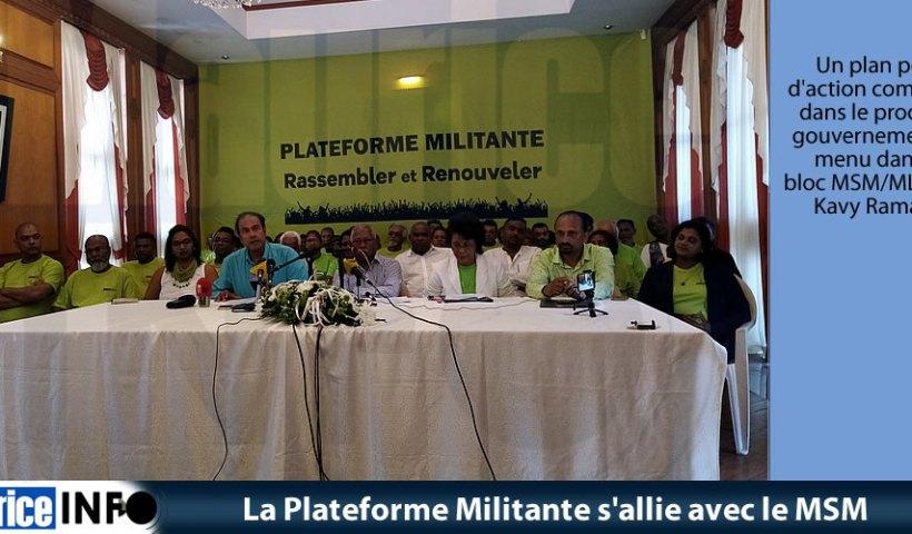 La Plateforme Militante s'allie avec le MSM