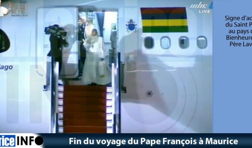 Fin du voyage du Pape François à Maurice