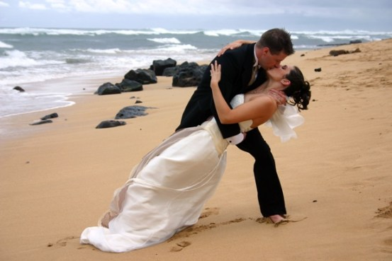 Passionate kiss after a beach wedding in Mauritius