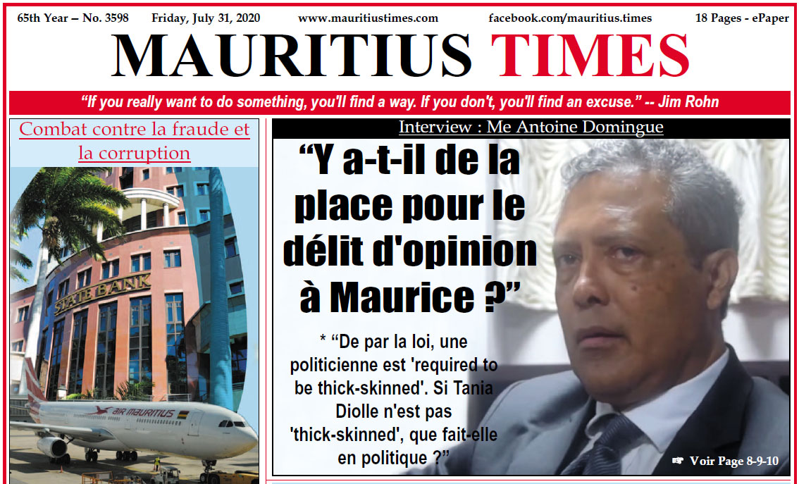 Download – Mauritius Times ePaper – Friday 31 July 2020