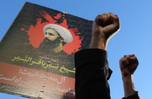 Manifestazione a Teheran dopo l'assassinio dello sceicco