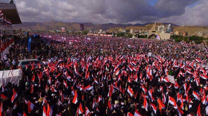 The picture shows yesterday's rally in Sanaa,Yemen where up to 1 million people.