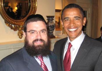 """Obama col rabbino Levi Shemtov, il """"cappellano"""" dei Lubavitcher al Campidoglio."""