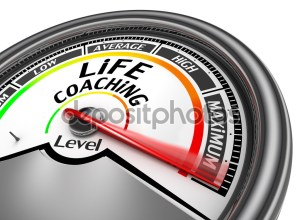 life coaching level to maximum conceptual meter, isolated on white background