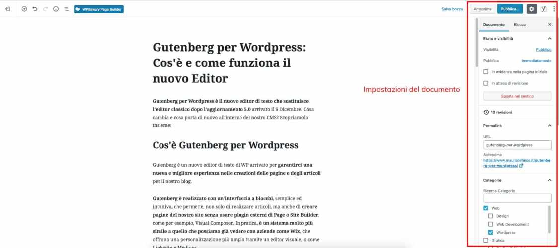 Impostazioni del documento in WordPress 5.0 Gutenberg