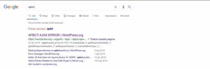 ricerca del plugin su google