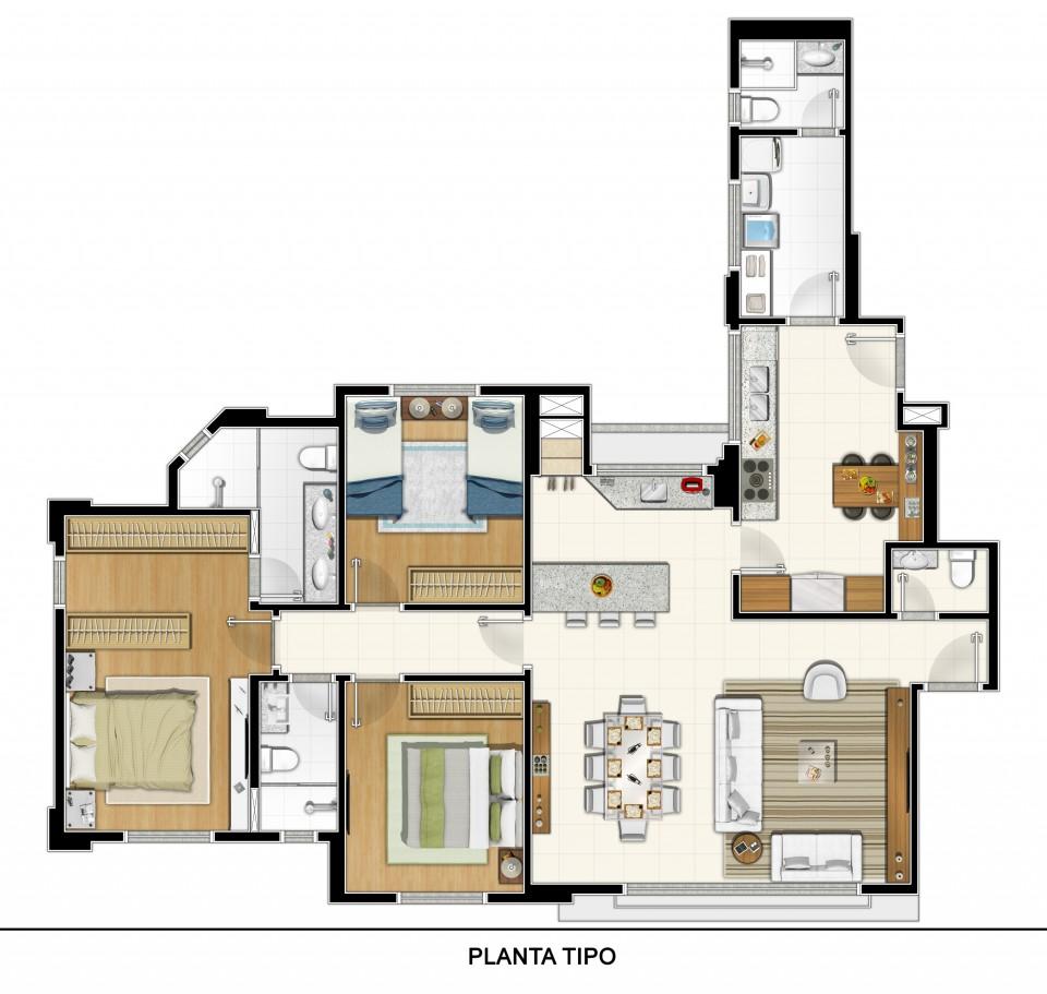 Imagem da planta do apartamento no Edifício Elegance da Construtora JL
