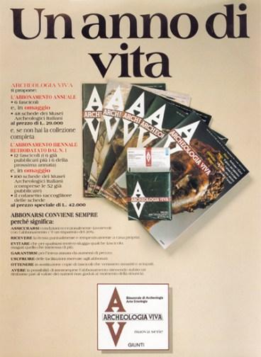 Pagina pubblicitaria rivista Archeologia Viva