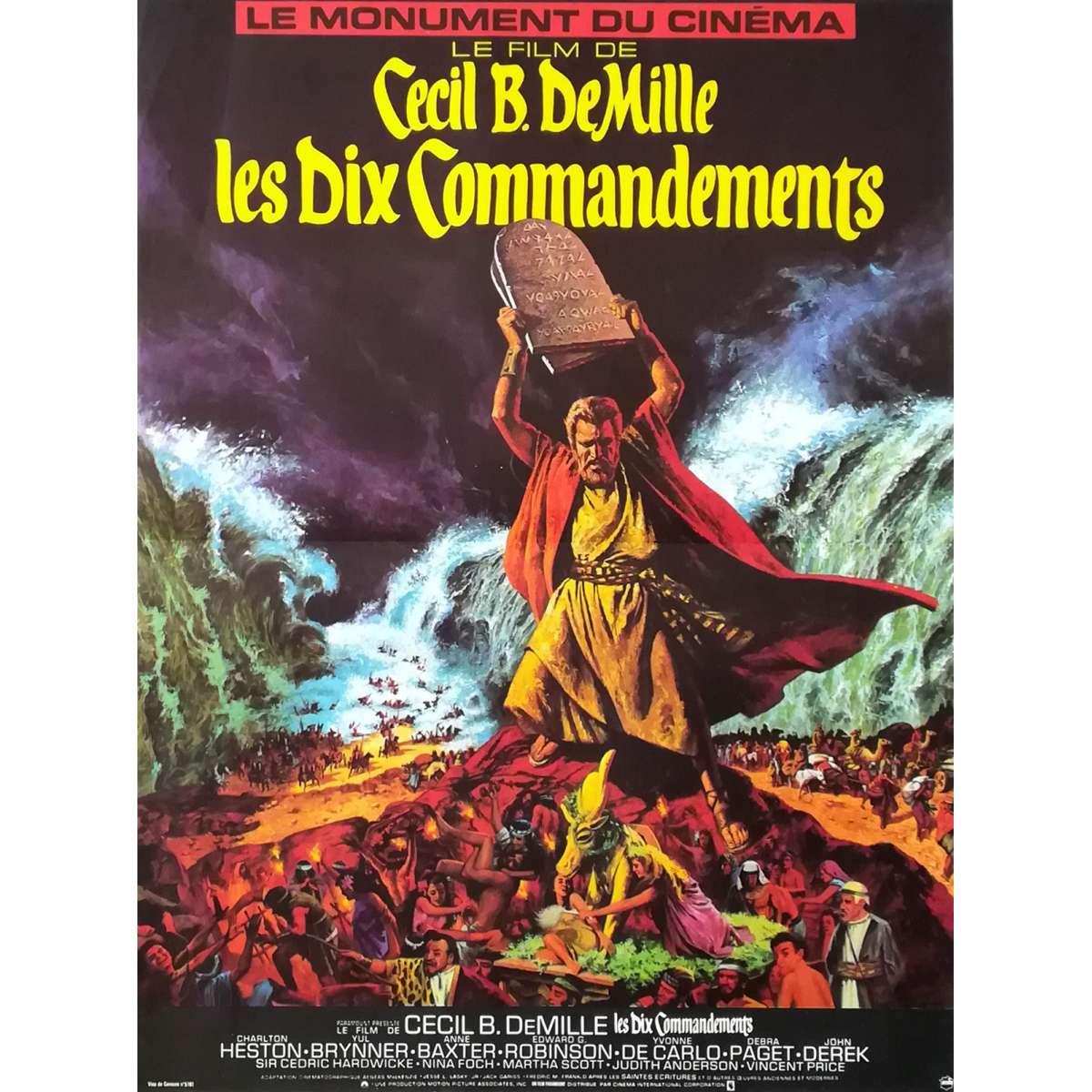 the ten commandments original movie poster 15x21 in 1956 r1970 cecil b demille charlton heston