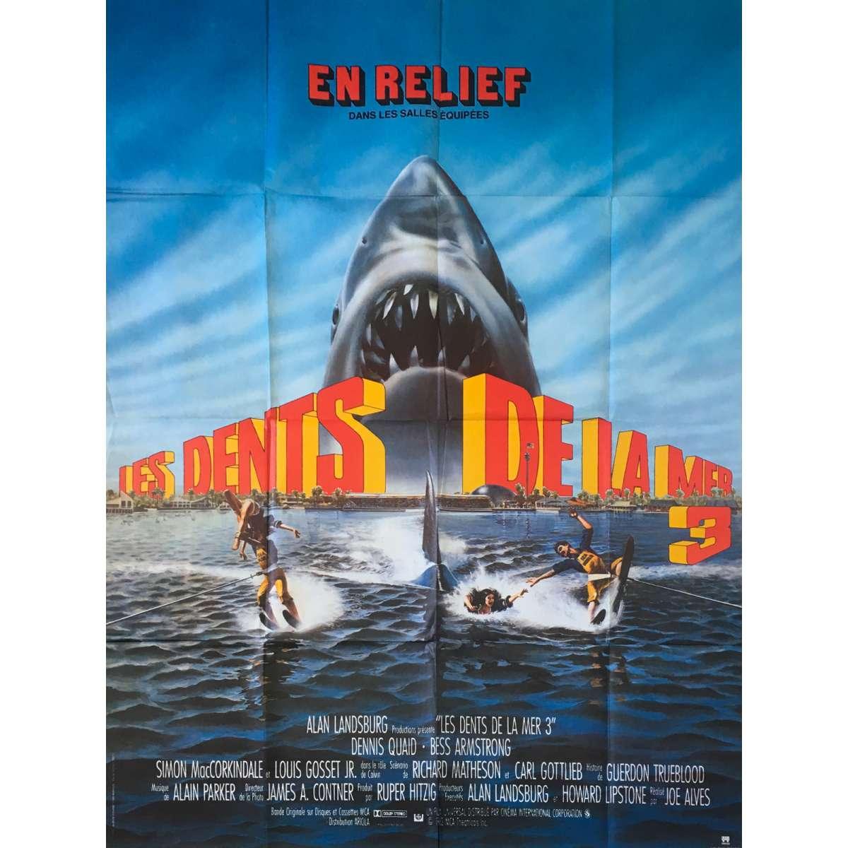 jaws 3 d original movie poster 47x63 in 1983 joe alves dennis quaid
