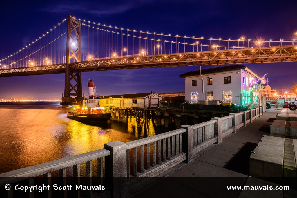 San Francisco Embarcadero Fire Station with holiday lights