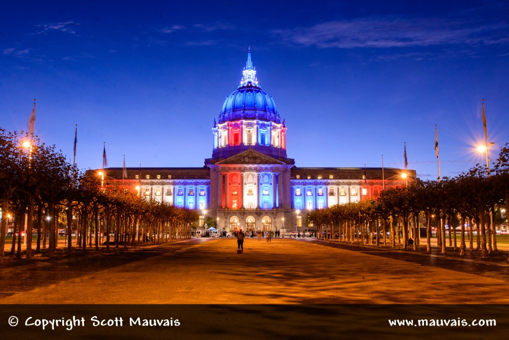 San Francsico City Hall lite up for Election Day 2016