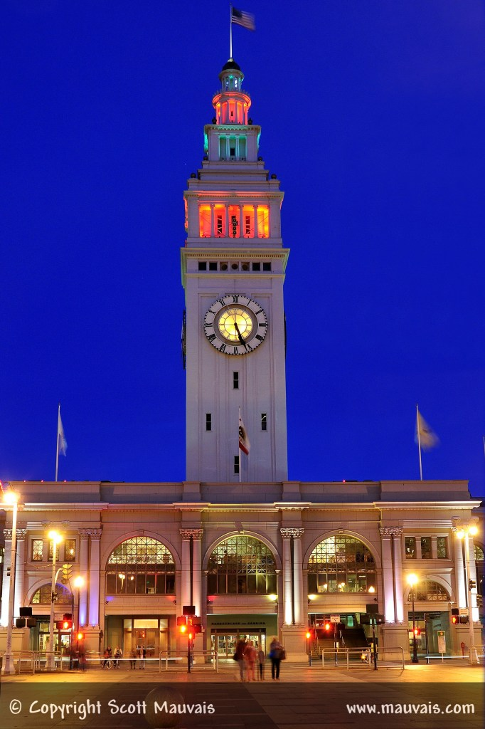 San Francsico Ferry Building with Holiday Lights