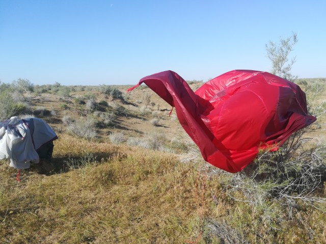 Drying the tent in the almost desert