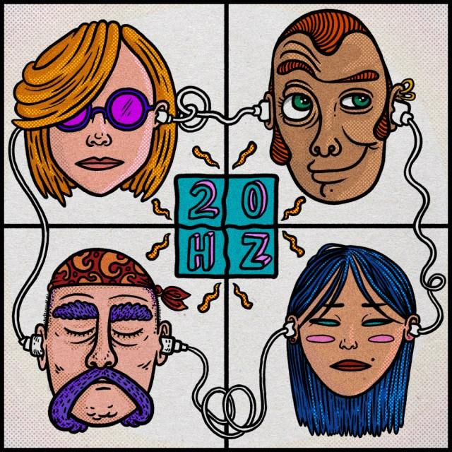 20 Hertz logo: le teste di 4 persone collegate da cavetti