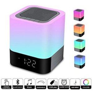Signstek Haut-parleur Bluetooth sans fil avec la lampe de la fonction de réveil, lampe de chevet de sonde de contact, lecteur MP3, USB et AUX AUX