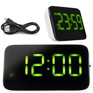 HUMTUS Grand écran Réveil numérique avec rappel d'alarme et fonction de contrôle d'alarme sonore, Alimenté par câble USB ou 4 x AAA batterie Parfait conçu pour bureau de chevet Réveil pour Kid Home Office