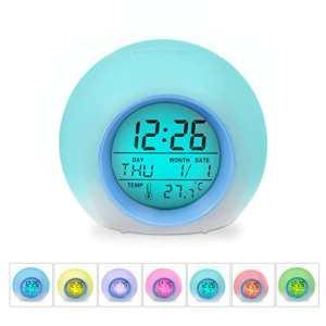 Réveil HAMSWAN 7 Couleurs et 6 sons de Nature Lumière de Nuit lampe de Table Affichage de Température Intérieure pour Parent Étudiant(Bleu clair)