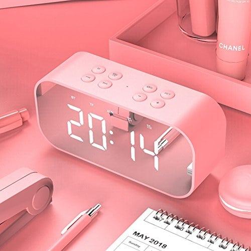 W&lx Radio-réveil, Musique radio-réveil étudiant créatif muet chevet veilleuse horloge numérique enfant réveil multifonction haut-parleur-rose