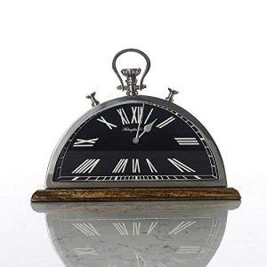 Réveil, Le modèle de bureau d'étude ornements Swing dans les montres, aluminium, acier inoxydable en bois demi-tour de l'horloge (Couleur : C, Taille : Half-round)