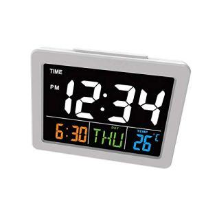 TiooDre Réveil numérique, LED de Chevet Bureau Réveil Affichage Calendrier température de température