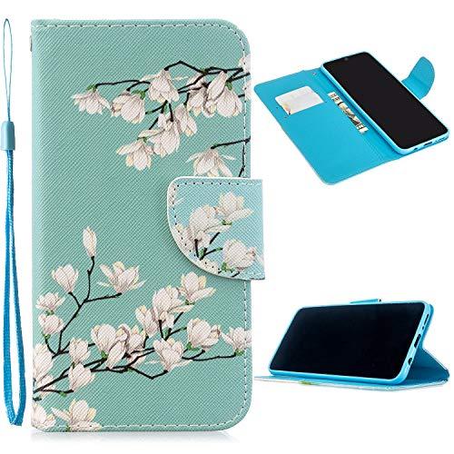 Miagon Full Body Coque Case pour Samsung Galaxy S10e,Coloré Motif Pu Cuir Portefeuille Flip Etui Portable Silicone Interne Antichoc Housse de Protection,Blanc Fleur