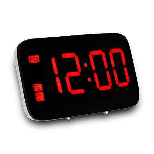 FBGood Réveil Numérique – Réveil Numérique LED – Reveil Matin pour Gros Dormeurs Grand Affichage à Chiffres Rouges Reveil Lumineux (Rouge)